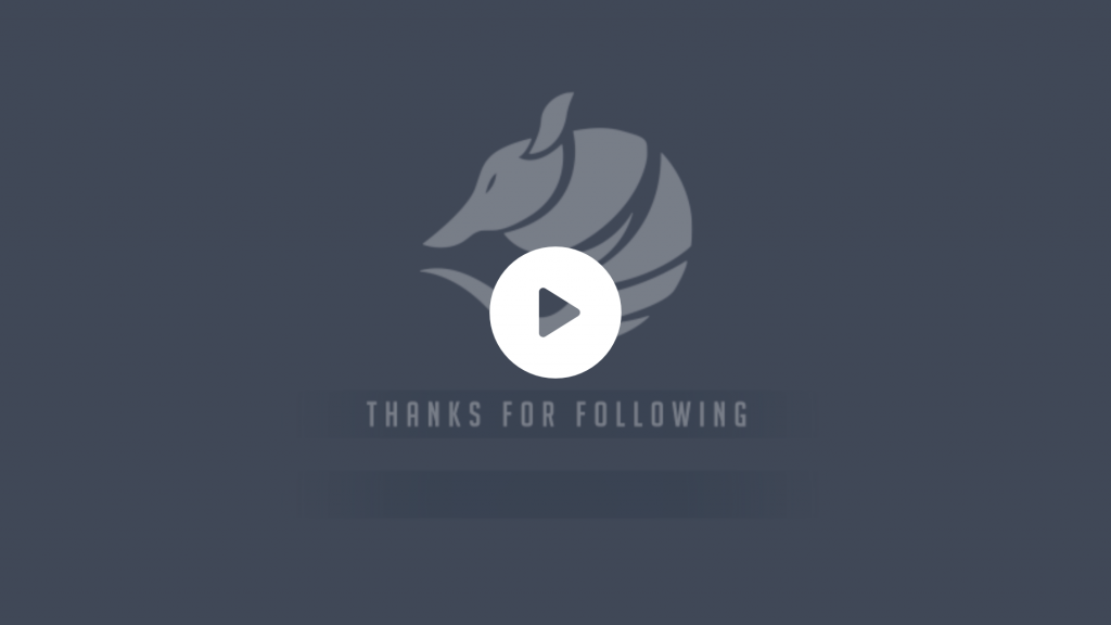 Animated armadillo alerts for a customer making the logo spin