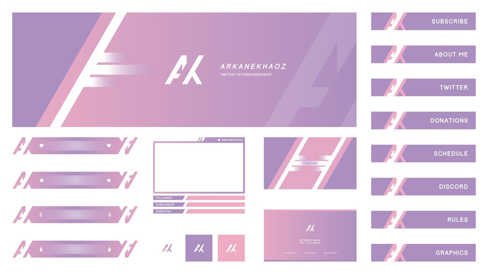 Minimal stream design for ArkaneKhaoz with a smooth gradient. Includes a webcam overlay and twitch panels to match.