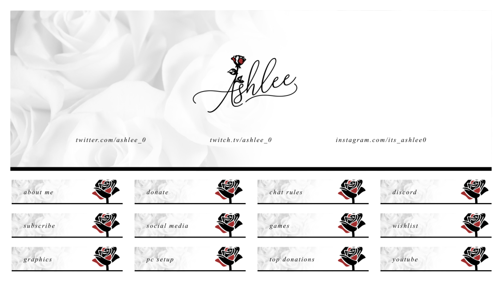 Feminine Twitch package for a customer using a signature logo and faded white floral effect
