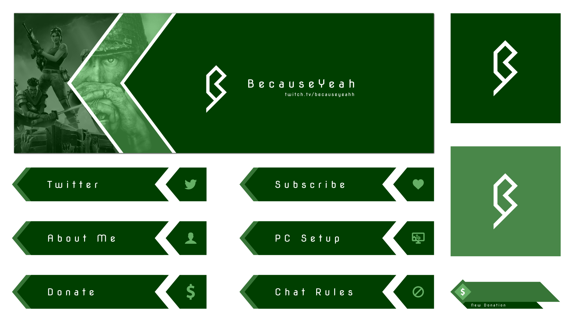Simple stream layout for a customer using a lot of green and sharp angles.