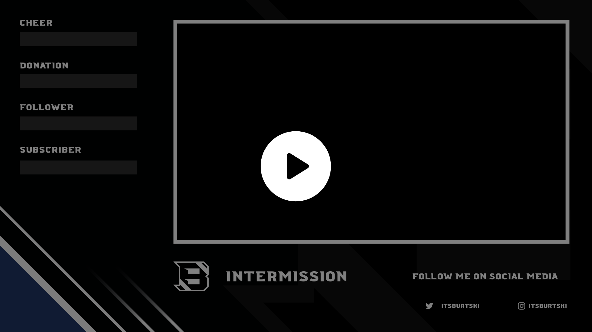 Animated intermission screen for Twitch using a simple blue and black theme