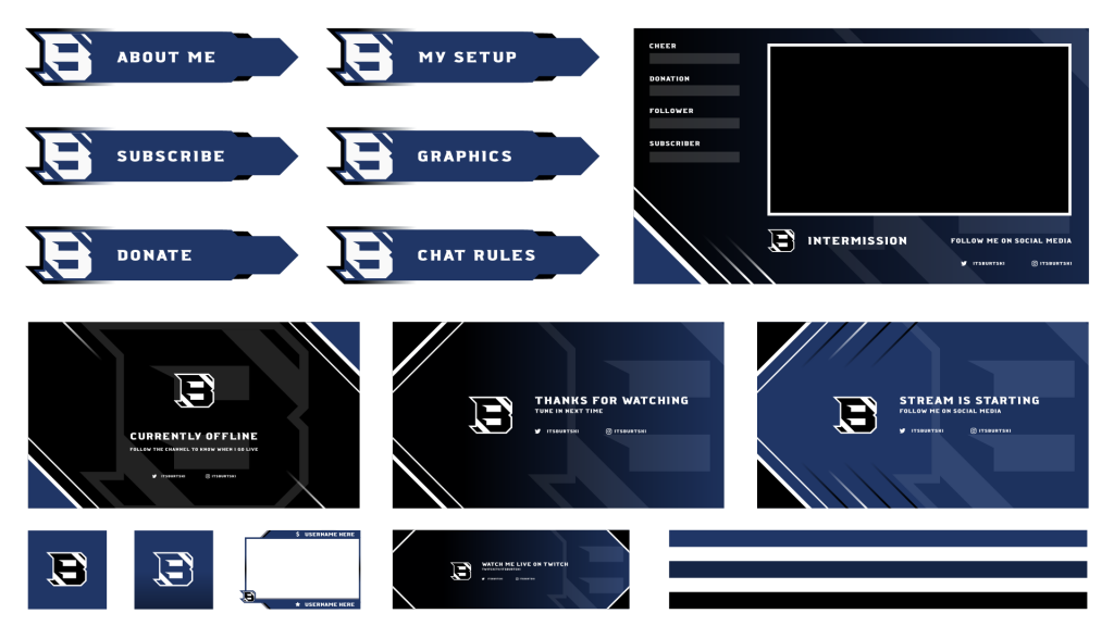 Aggressively themed twitch graphics for a customer with many sharp angles.
