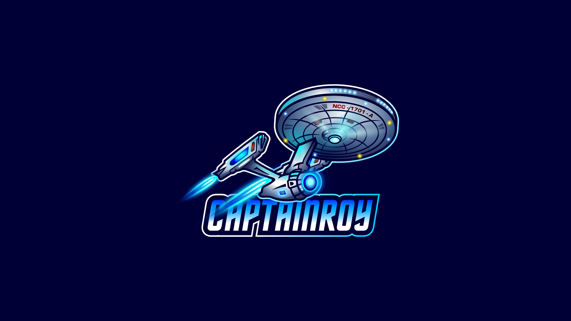 Illustarted star trek ship logo for a video game streamer