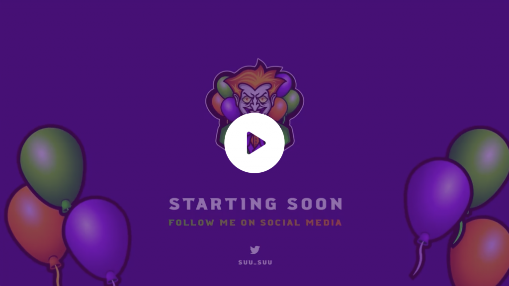 Animated screen for a twitch streamer using his clown theme and clown mascot logo