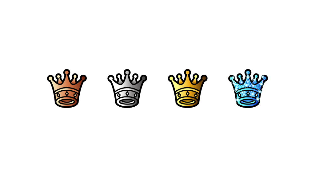 Simple crown sub badges for Twitch that change in colour from bronze, silver gold and diamond.