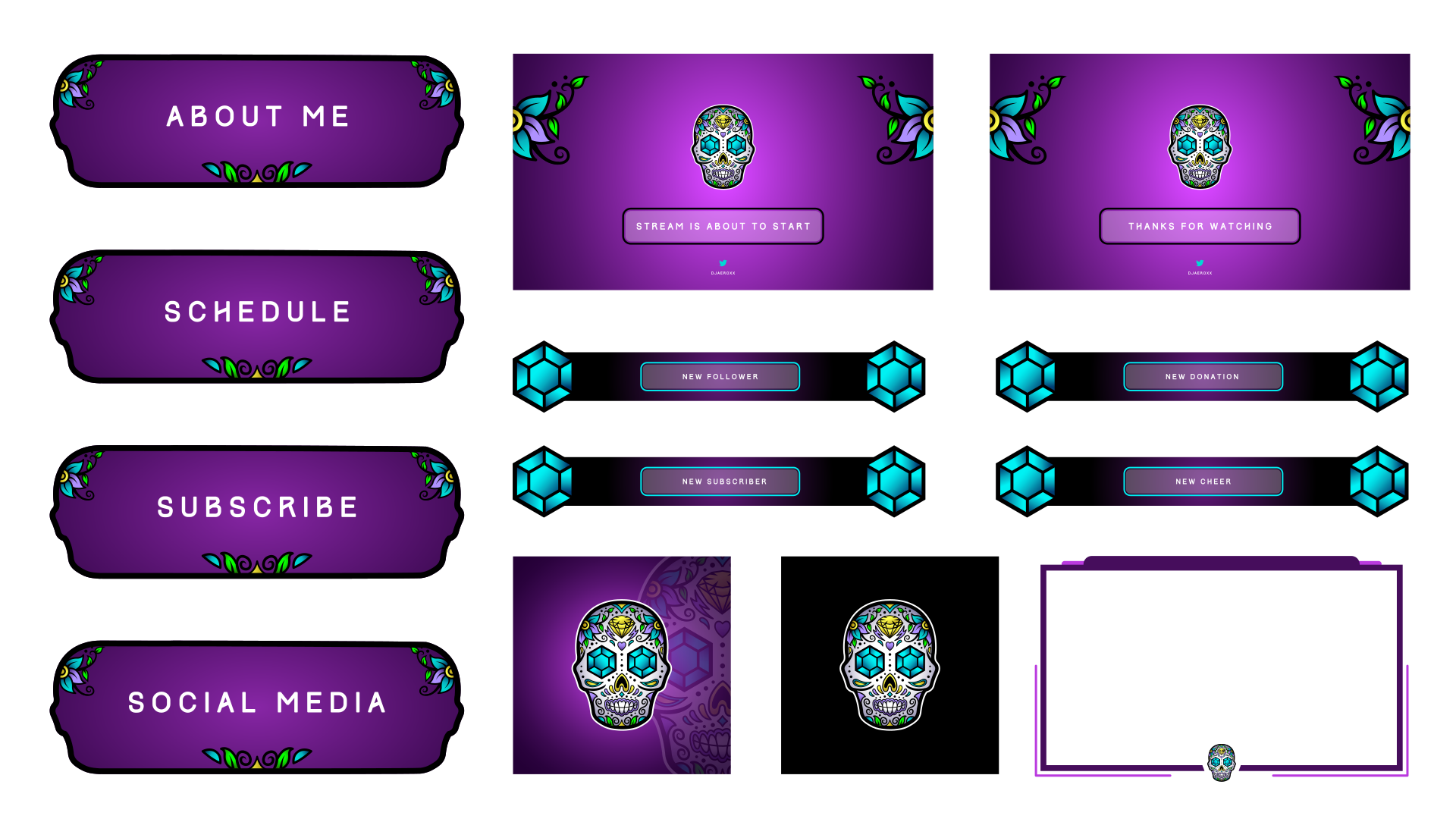 Skull themed twitch artwork for a customer using a mexican themed SugarSkull design