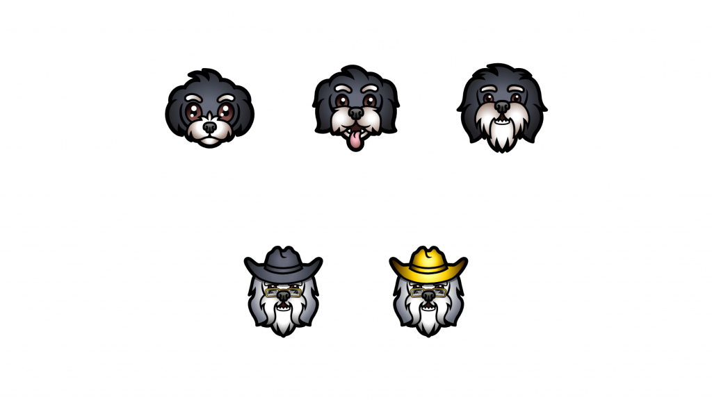 Dog sub badges for twitch using the customers dog as the model getting older as it progresses