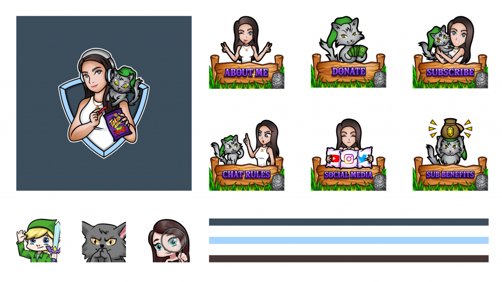 Twitch layout including a logo, panels and emotes for ElizabethZaks