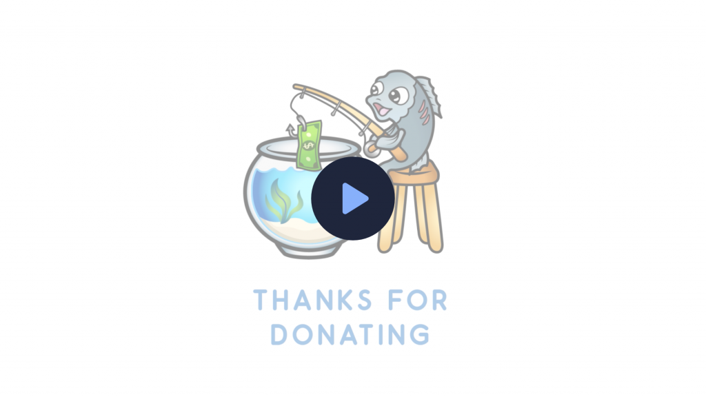 A set of animated alerts using a funny fish design in a fish bowl. Donation alert, follower alert and subscriber alert.