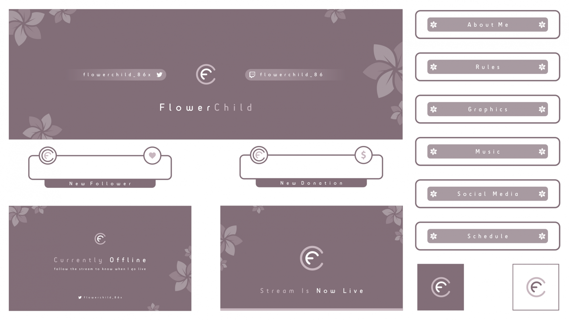 Minimal floral twitch package for a customer using a faded colour scheme
