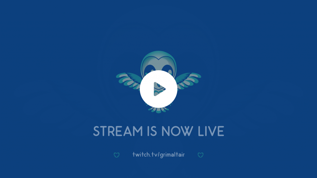 An animated owl on a going live post for a streamer. Minimal design and flat colours in the background