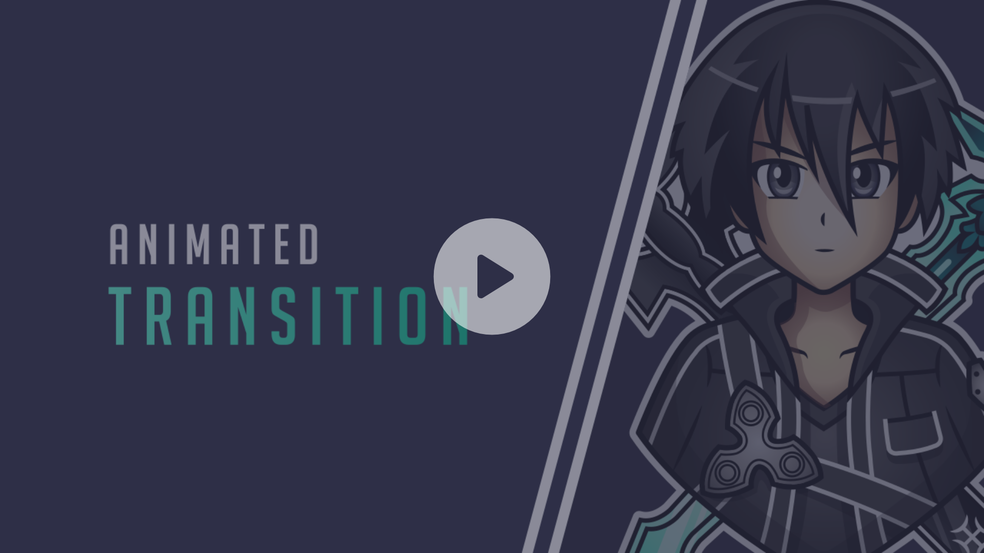 Animated transition for a streamer using the kirito logo we made for him