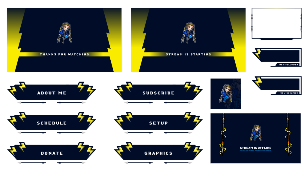 Twitch graphics for Llancelot the streamer, with a lightning theme using yellow and blue