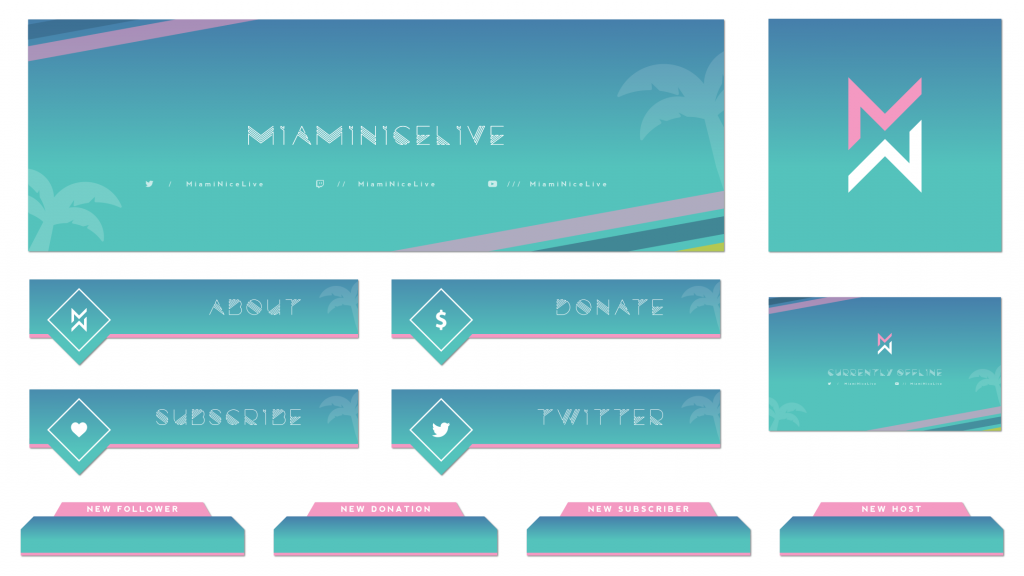 Retro miami themed twitch package for a customer