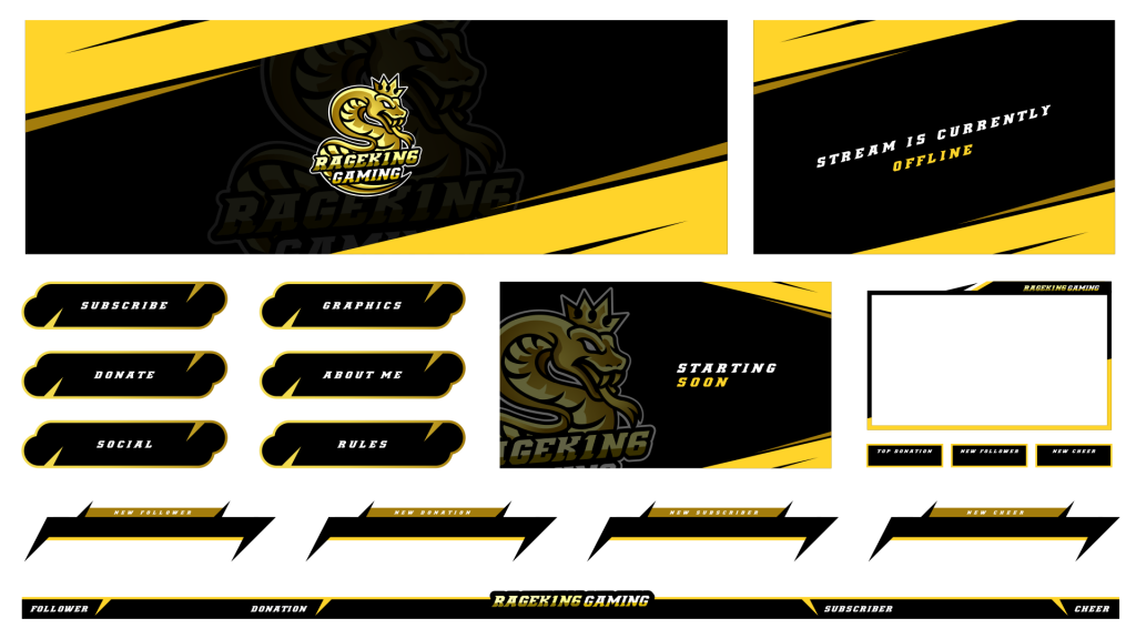 Esport style twitch package with a snake mascot logo using black and yellow