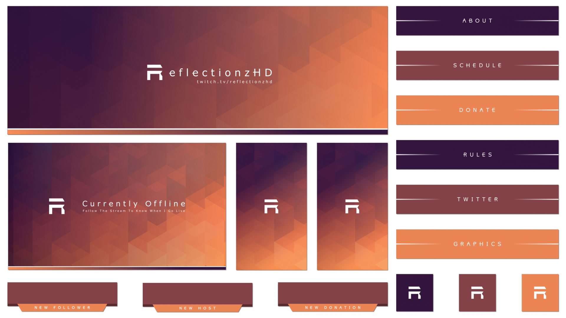Minimal geometric twitch package for a streamer with an angular design