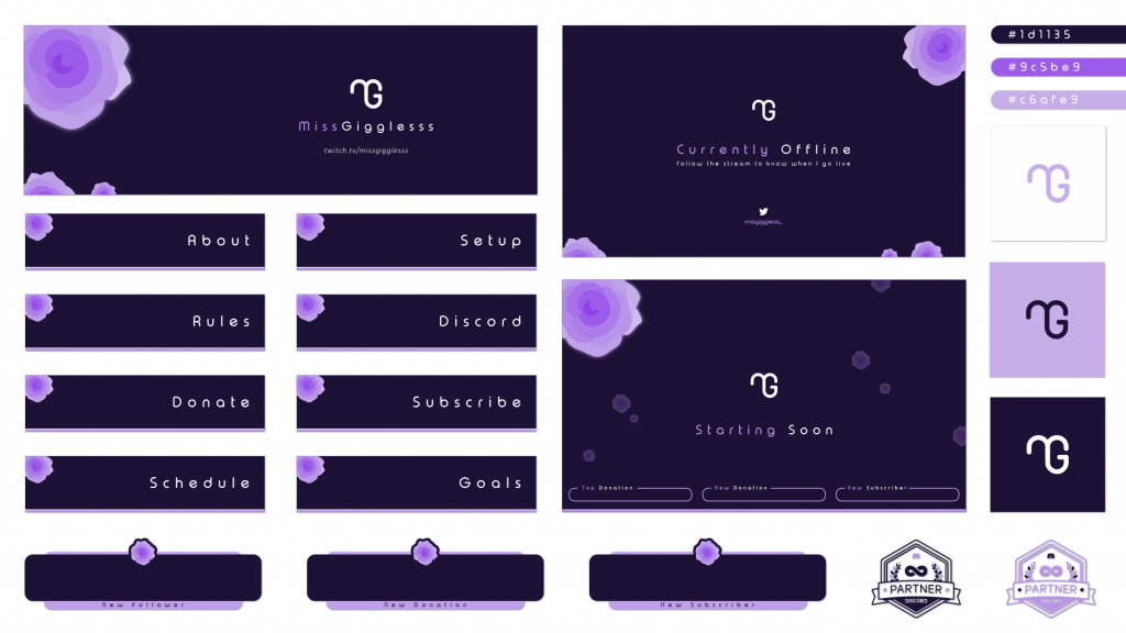 Twitch graphics for MissGiggless using a dark purple design with a brighter purple highlight