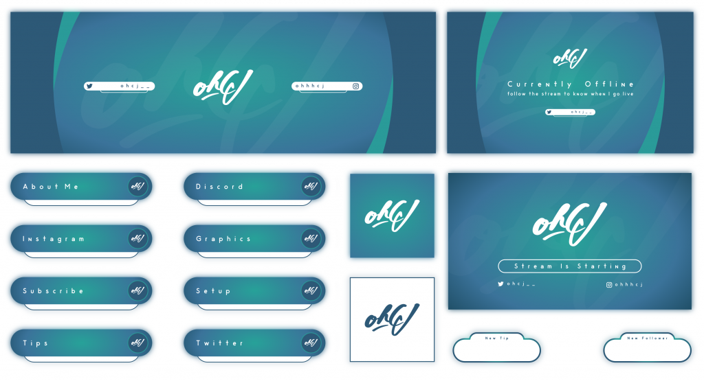 Simple blue and green twitch layout using a signature style logo