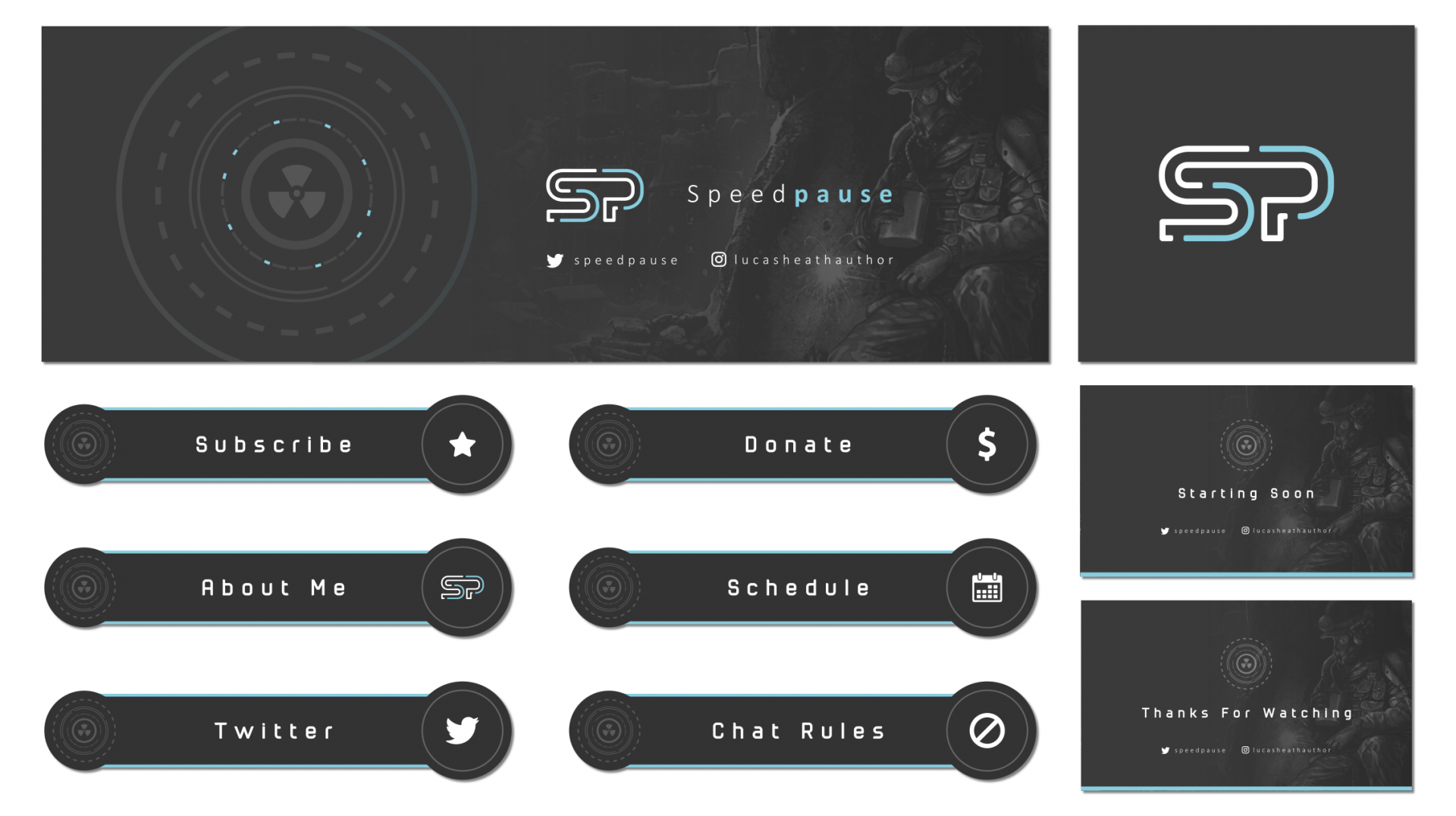 Simple SP logo on a twitch package with an apocalypse theme