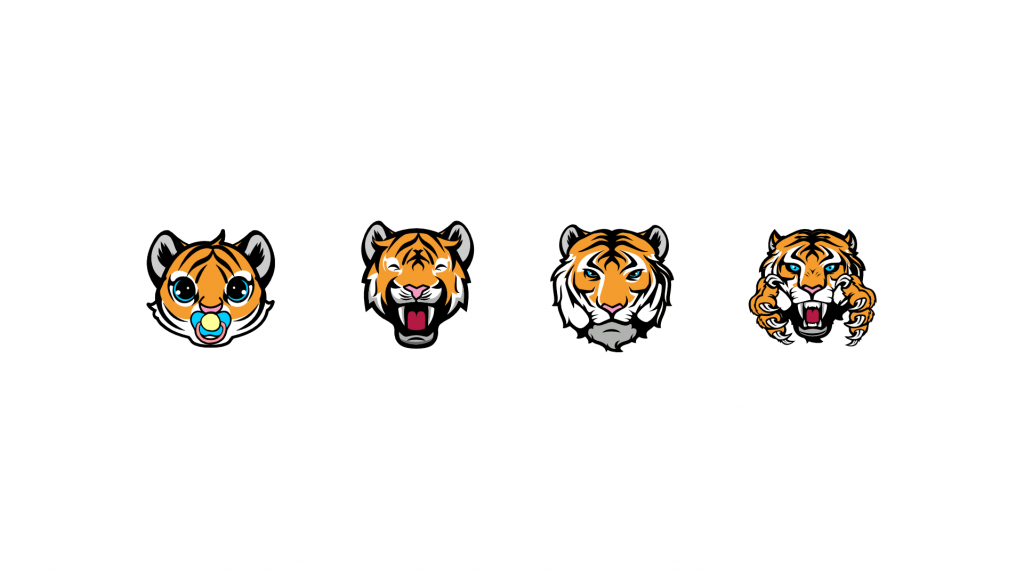 Tiger sub badges for twitch using a baby tiger, teenage tiger, adult tiger and angry tiger