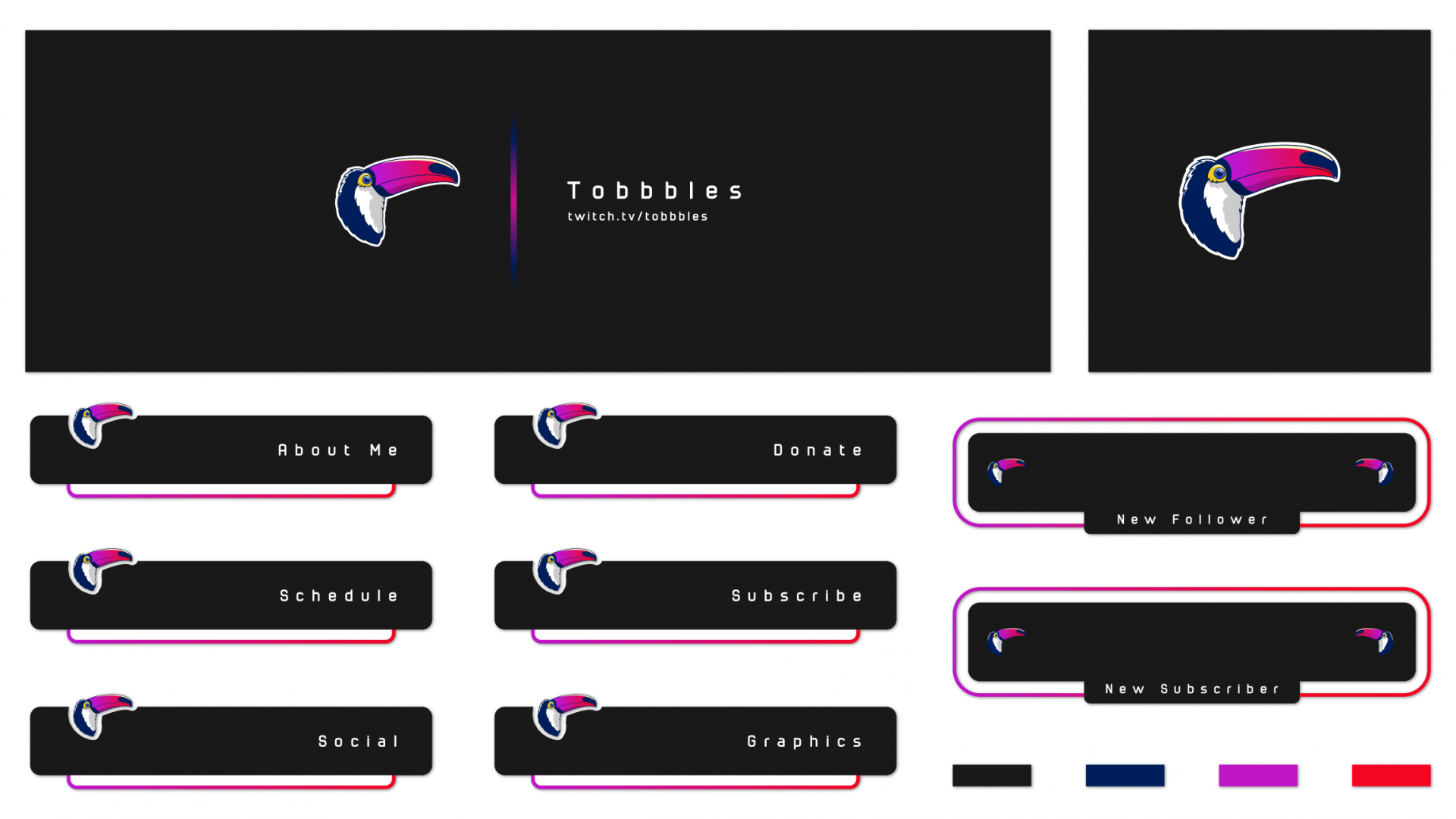 Simple toucan logo on a twitch layout with bright colours on a dark backgroud