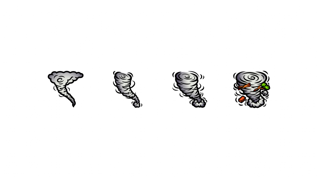 Twitch sub badges using a tornado that progressively gets worse