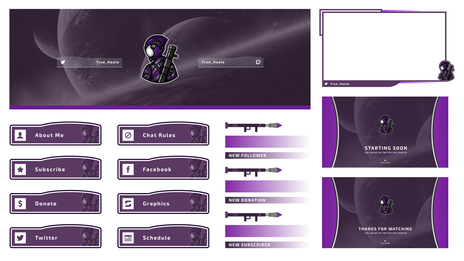 Sci-fi themed twitch graphics for a customer using a purple colour scheme