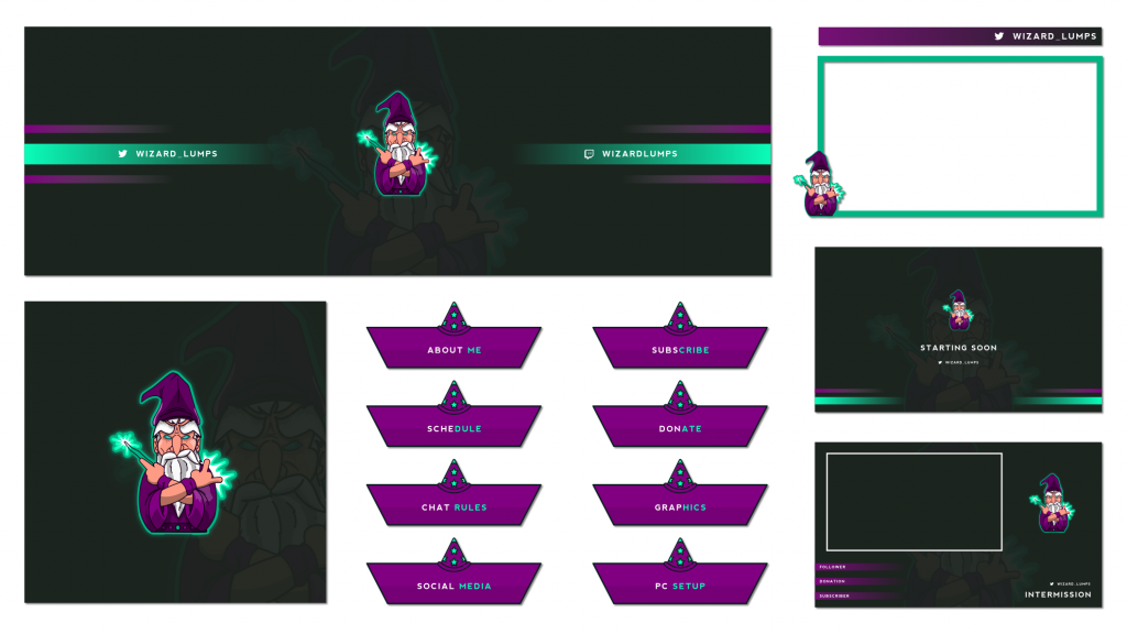 Wizard themed twitch graphics for a customer using purple and green