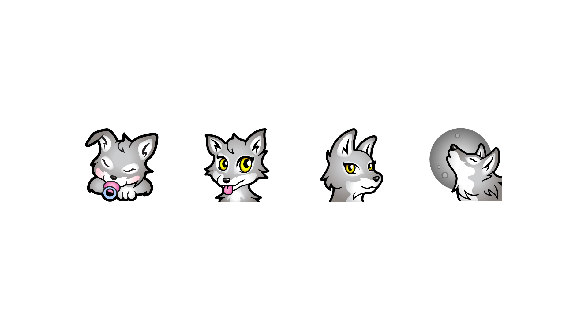Wolf sub badges using a cute wolf to start and an adult wolf to end