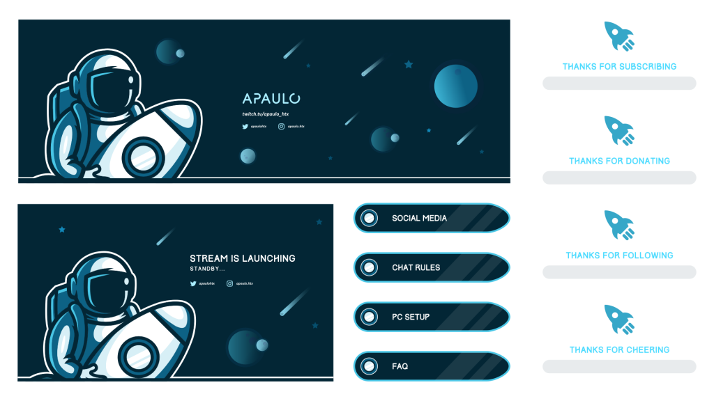 Custom twitch package for a streamer using a space theme with planets and stars in the background