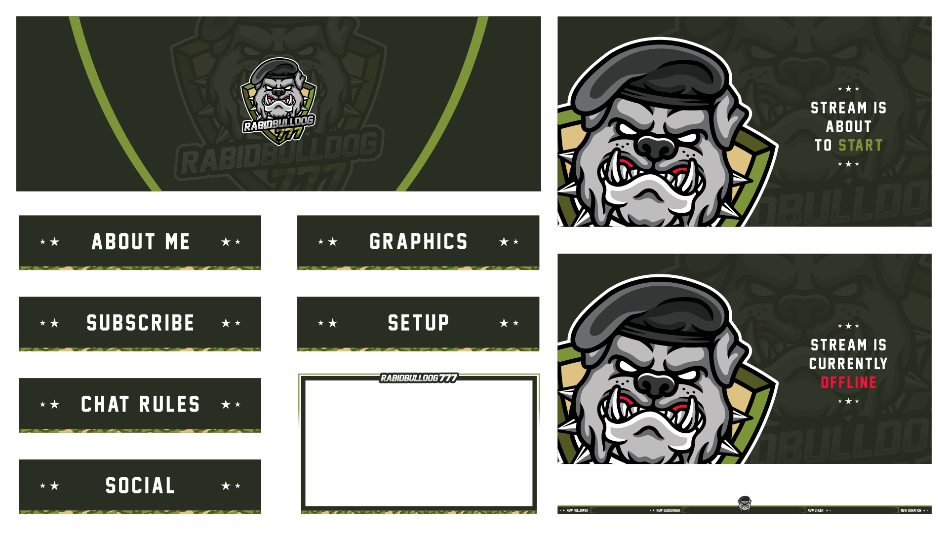 Military style twitch package using a bulldog logo with a slight esport style