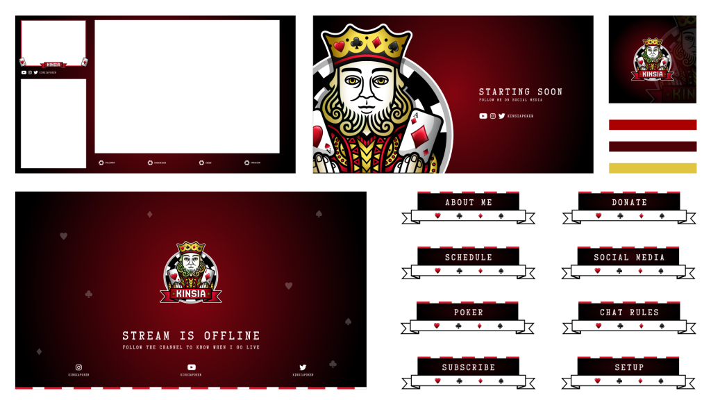 Poker Twitch Graphics including scenes to stream on multiple tables
