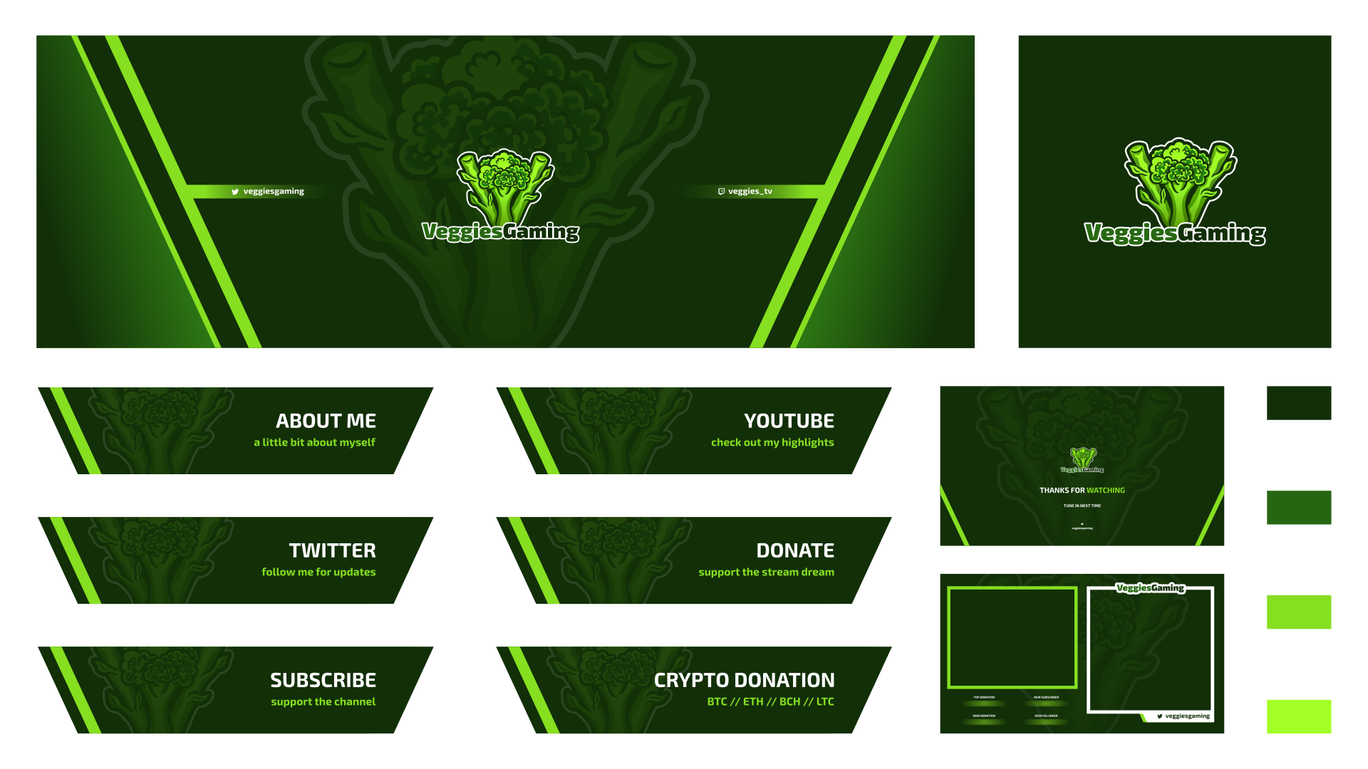 Vegetable themed twitch graphics for a customer using a V shaped broccoli logo that we also created