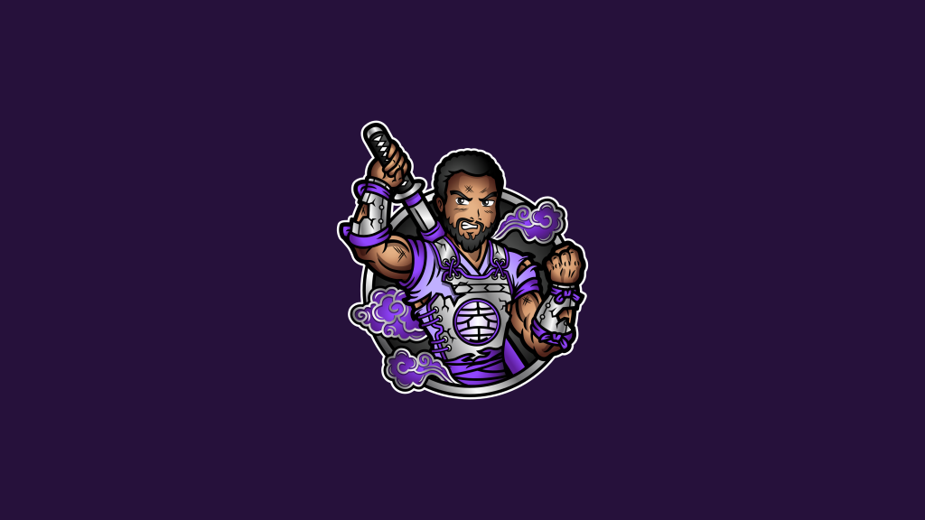 Twitch streamer logo of a samurai character