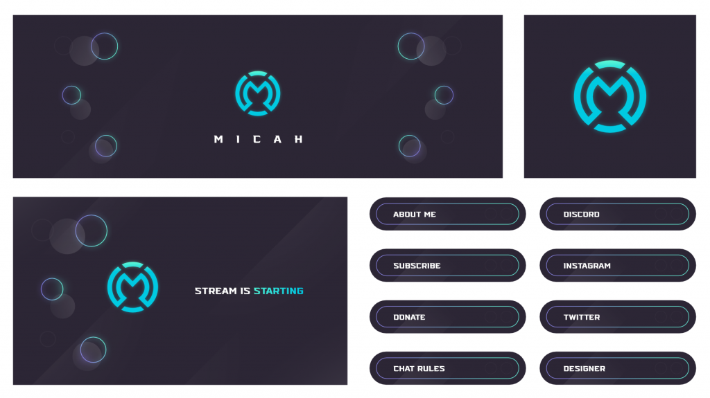 Minimal Twitch Overlay Design With panels and Logo
